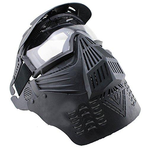 View Halloween Kostüme (AIRSOFT Pro Maske klare Glaslinse 270Grad Sichtbarkeit Schutzmaske Militär Schutz Paintball Halloween-Kostüm)