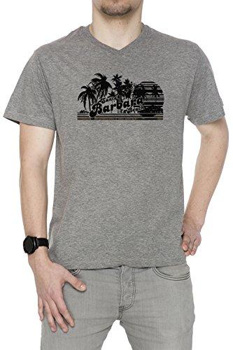 Santa Barbara Beach Uomo V-Collo T-shirt Grigio Cotone Maniche Corte Grey Men's V-neck T-shirt