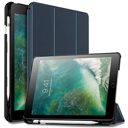 Infiland iPad 9.7 2018 Hülle Case mit Pencil Halter, Ultra Schlank Superleicht Ständer Schutzhülle mit Auto Schlaf/Wach Funktion für iPad 9.7 Zoll 2018(Enthält keinen Apple Pencil),Dunkleblau