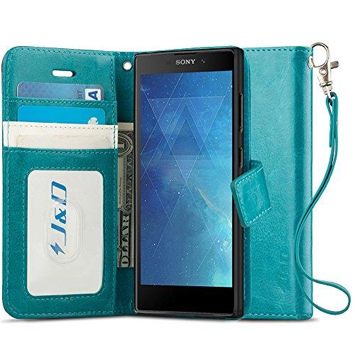 Xperia L2 Hülle, J&D [RFID Blocking Standfuß] [Slim Fit] Robust Stoßfest Aufklappbar Tasche Hülle für Sony Xperia L2 - Türkis