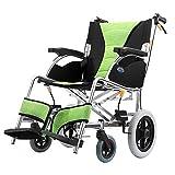 Rollstuhl Bequemer Leichter Transport Faltender Tragbarer Reise-Stuhl Starke Aluminiumlegierung Ältere Behinderte Schubkarre-Rollstuhl-Grün