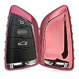kwmobile Funda para Llave Smart Key de 3 Botones para Coche BMW - Carcasa [Suave] de [TPU] para Llaves - Cover de Mando y Control de Auto en [Rosa Oro Brillante]