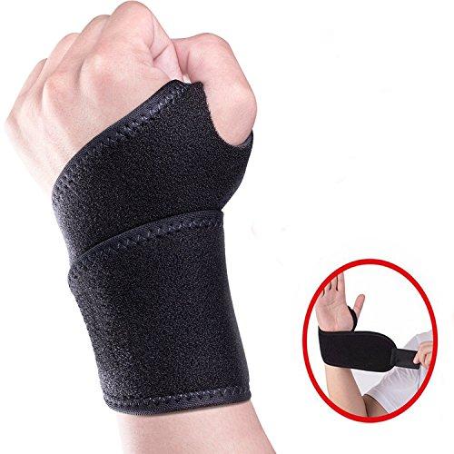 Handgelenkbandage,Terrchy Handgelenkstütze verstellbare Handbandage Handgelenkschoner zur wirkungsvollen Unterstützung und Entlastung Wrist Wraps für Alltag Fitness und Kraftsport beide Hände gültig(Schwarz) (Schwarz Handgelenk Links Wrap)
