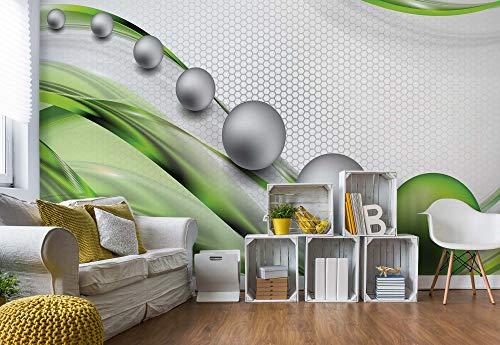 Wallsticker Warehouse Modernes Abstraktes 3D-Design Silber Und Grün Vlies Fototapete Fotomural - Wandbild - Tapete - 368cm x 254cm / 4 Teilig - Gedrückt auf 130gsm Vlies - 2393V8-3D