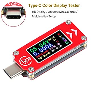Type-C USB Voltage Tester Multimeter Voltmeter Ammeter Tester 0-4A 3.7-30V Type-C USB Current Power Meter Tester 0.96 inch IPS HD Display Multifunction Tester Ammeter Voltage Current Meter TC64