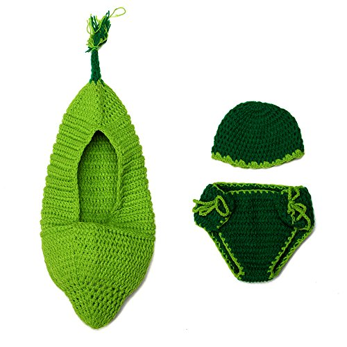 Sunfire grün Pod Newborn Baby Mädchen Boy Crochet Knit Kostüm Foto Fotografie Prop Hüte Outfits - Pod Baby Kostüm