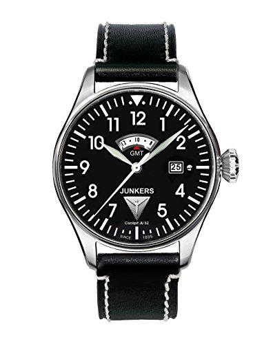 Junkers 61402 - Reloj analógico de Cuarzo para Hombre con Correa de Piel, Color Negro