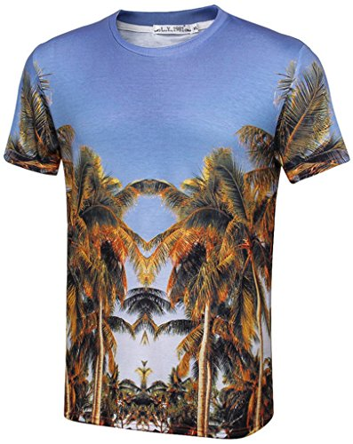 Pretty321 Men Women 3D Palm Tree Coconut Print Fashion Casual T-Shirt Collection Mirror of Road