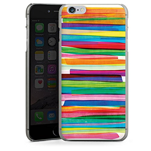 Apple iPhone 7 Tasche Hülle Flip Case Streifen Wasserfarbe Bunt Hard Case anthrazit-klar