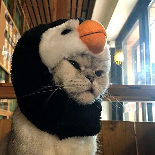 FOONEE Katze Halloween Kostüm SAMT Hut süß Tierform Design Perücke Cosplay Halloween Party Kleid Kostüm für Kleine Katzen oder Hunde Verkleiden Pinguin