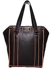 phive rivers sac cabas en cuir pour ordinateur noir et orange dalhia pr951