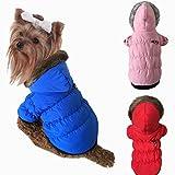 LA VIE Hundemantel Herbst und Winter Mantel Winddicht Warme Hundebekleidung mit Kapuze für Kleine Mittlere und Große Hunde Blau L
