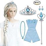 Vicloon ELSA Frozen Set, Krone Zauberstab Blau Handschuhe Haare Halskette Ring Ohrringe Set von 7