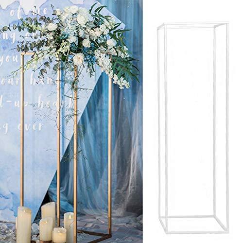 LZDseller01 Mariage Fleur Vase en Métal Colonne Stand De Fleurs, Vases Rectangulaires Stand Prop...