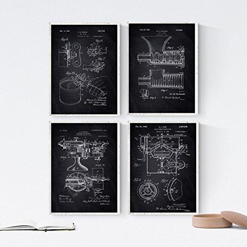 Nacnic Black - Packung mit 4 Blatt mit PATENTEN Küche. Stellen Sie Plakate mit Erfindungen und Alten Patenten. Wählen Sie die Farbe, die Sie mögen. Gedruckt auf Hochwertigen 250 Gramm
