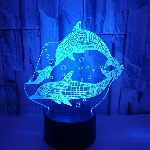 RJW Dolphin LED-Lampe Bunte Gradient 3D Stereoscopic Noten-Fern USB-Nachtlicht Am Bett Schreibtisch Fantasievoll Eingerichteten Geburtstags-Geschenk-20 * 13cm Aufwärmen