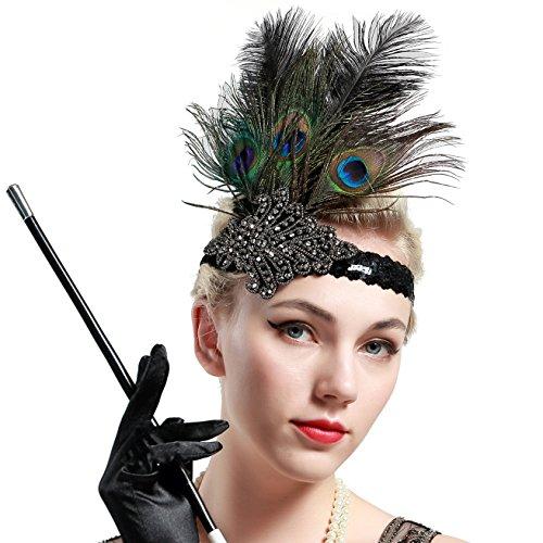 BABEYOND Damen 1920s Stirnband Pfau Feder 20er Jahre Stil Flapper Haarband Inspiriert von Great Gatsby Damen Kostüm Accessoires (Stil (Für Frauen Kostüme Pfau)