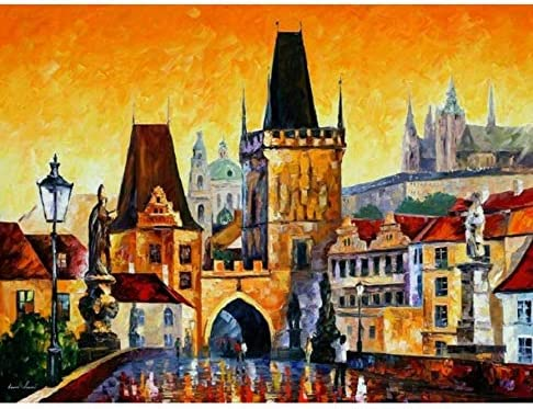 OKOUNOKO Puzzle   3 Ans pour pour pour La Décoration De La Maison Style Vieille Ville De Prague Peint À La Main Personnalisé en Bois Assemblage Pièce De Puzzle Jeu | élégante Et Gracieuse  9b4705