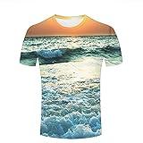 Herren Crewneck 3D Print T-Shirt sea Waves Under Sunset Creative Graphic Short Sleeve Tee Top Shirts XXL