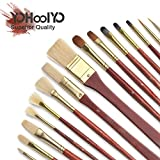 YOHOOLYO 16pcs Paint Brush Set Artist Paint Brushes for Watercolor Oil Acrylic Painting