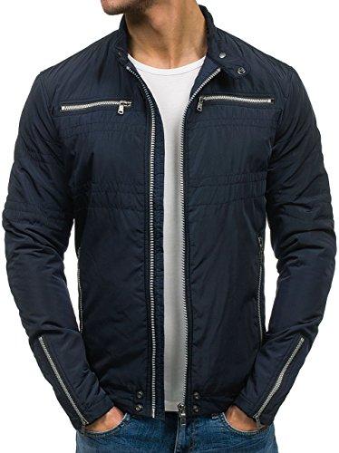 BOLF – Veste sansa capuche - Zip – Col haut – Casual – Motif – Homme [4D4] Bleu foncé