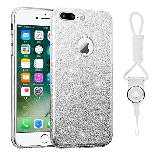 iphone 7 plus case, Hanlesi lucida copertura [bling chiarissimo] [slim fit] 3 strato ibrido con brio premio trasparente tpu custodia per apple iphone 7 Plus 5,5 Inch Silver