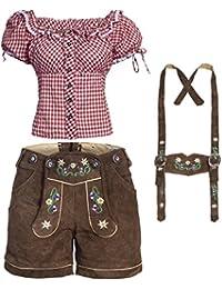 Trachtenset Damen Trachten Lederhose braun kurz mit Stickereien mit Trachtenbluse in verschiedenen Farben
