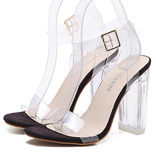 Oasap Women's Peep Toe Chunky Heels Transparent Sandals gold