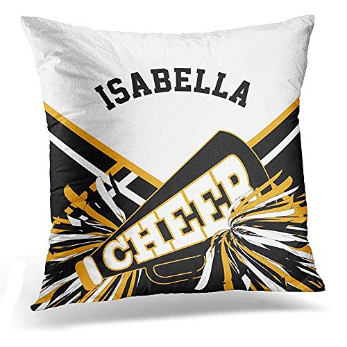 gthytjhv OUDNF Wurfkissenbezug Cheerleading Cheerleader in Gold White and Black Squad Decorative Pillow Case Home Decor Square 18x18 Inches Pillowcase -