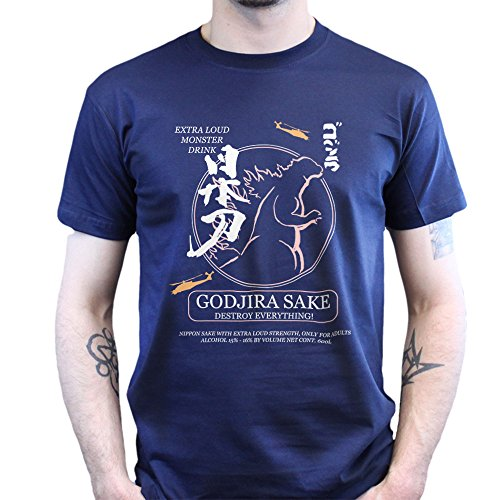 Godjira God Zilla Sake Japan T-shirt Navy Blau