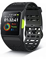 GPS Running Watch,P1 Smart Watch HRV Analysis Heart Rate/Sleeping/Fatigue Monitor IP67 Waterproof Fitness Tracker with Multi-Sports Mode Message Notifications Color Touch Screen For Android and IOS