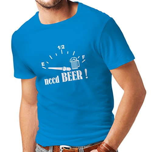 lepni.me Männer T-Shirt Ich Brauche Mehr Craft Beer! - Lustiges Geschenk, Trinksprüche, Bar Slogans, Party (Large Blau Weiß)