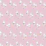 Stoff Baumwolljersey Jersey Binky Bunny Hase rosa 50cm x 145cm Stoff zum nähen Meterware Kinderstoff