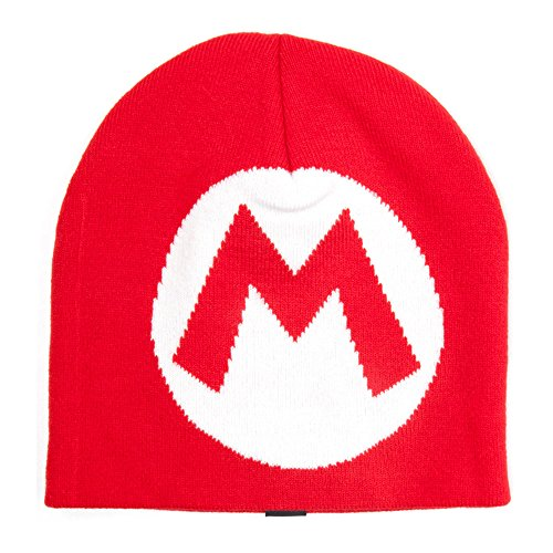 Nintendo Super Mario Knitted Mario Logo Beanie -Size M-Red [import anglais]