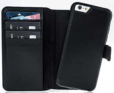 Solo Pelle iPhone 6 / 6S amovible étui en cuir (2in1) inclus Compartiments pour cartes pour l'original iPhone 6 / 6S en Flex-portefeuille - Noir, Iphone 6 / 6S, Iphone 6 / 6S