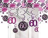 Feste Feiern Geburtstagsdeko Zum 60. Geburtstag | 13 Teile All-In-One Set Deckenhänger Swirl Tischkonfetti Pink Schwarz Violett Party Deko Happy Birthday