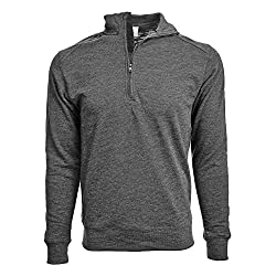 NHL Anaheim Ducks Men's Hudson Faux Show Text Quarter Zip Pullover, Small, Heather Charcoal