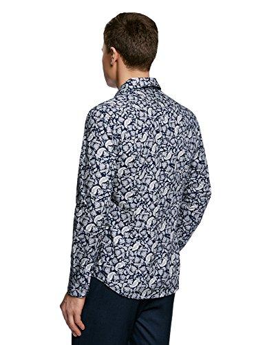 oodji Ultra Herren Hemd Slim Fit mit Druck Blau (7910E)