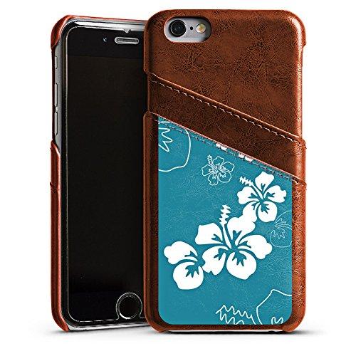 Apple iPhone 5 Housse Étui Silicone Coque Protection Fleurs Fleurs Été Étui en cuir marron