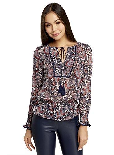 oodji Collection Mujer Blusa Estampada con Borlas y Gomas, Morado, ES 36 / XS