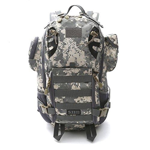 dushow militare zaino/zaino da campeggio trekking sport Ourdoor bagagli per arrampicata viaggio borsa a tracolla trekking, Uomo, Black, Taglia unica Camouflage 2