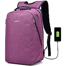 Mochila antirrobo multifuncional, mochila de viaje de negocios de poliéster impermeable ocasional con interfaz de