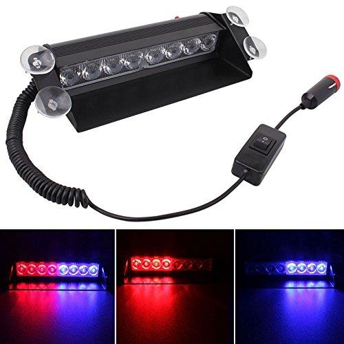 Luci di alta qualità, MZ 8W 800LM 8-LED Weiß + Gelb Licht 3 Modi verstellbarer Winkel Auto Strobe Flash Dash Notlicht Warnleuchte mit Saugnäpfen, DC 12V ( SKU : S-CMS-3343C ) Flash-dc Strobe