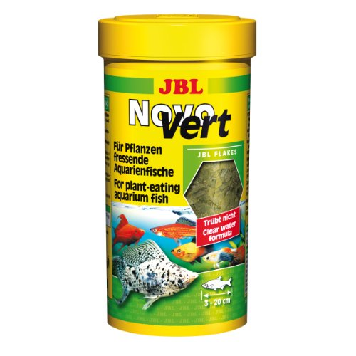 JBL NovoVert 30195 Alleinfutter für pflanzenfressende Aquarienfische Flocken, 250 ml (Neon Fische Pflanzen)