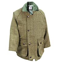 WWK Kids Childrens Derby Tweed Jackets Breathable Waterproof Shooting Hunting Fishing (Size 34 - Ages 13/14, Light Green)