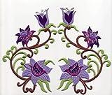 b2see Bügel Iron on Aufnäher Patches Flicken Sticker Aufbügler Bügelbilder Applikation Kleidung Stoff Textilien Blumen zum aufbügeln 2 er Set dunkellila/helllila 14 x 8 cm je Blume