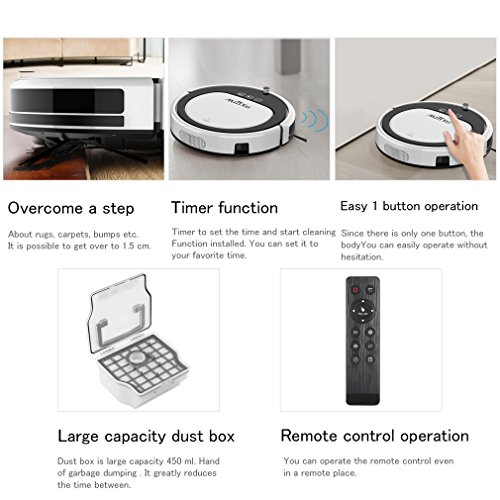 OCDAY Robot Vacuum Cleaners, Smart Floor Cleaner With Drop-Sensing Technology, Self-Charging, Self-Cleaning for Hard Floor and Thin Carpet
