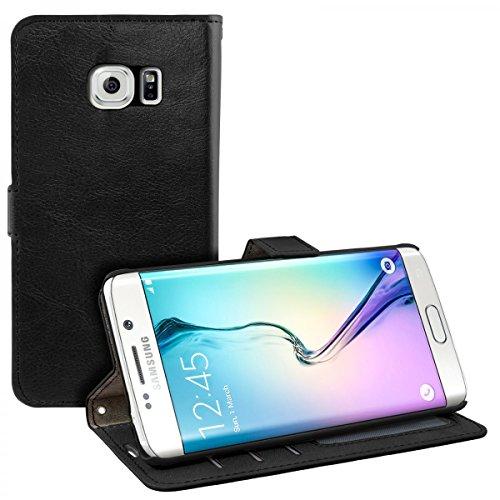 eFabrik Schutzhülle für Samsung Galaxy S6 Edge Tasche schwarz Case Cover Hülle Handyhülle Etui Schutztasche SM-G925F Leder-Optik schwarz
