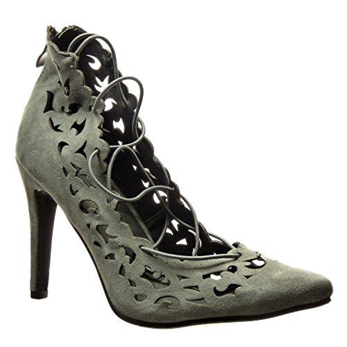 Angkorly Chaussures Mode Chaussures Décolleté Stiletto Sexy Femme Perforé Dentelle Stiletto Talon Haut 10 Cm Gris