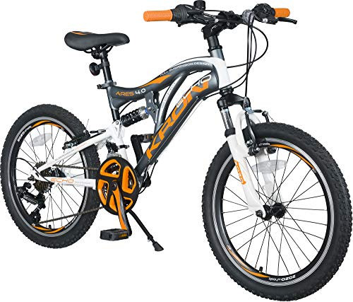 KRON ARES 4.0 Vollgefedertes Kinder Mountainbike 20 Zoll ab 6, 7, 8, 9 Jahre | 21 Gang Shimano Kettenschaltung mit V-Bremse | Kinderfahrrad 14 Zoll Rahmen Vollfederung | Grau Orange